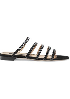 Sergio Rossi Woman Kimberly Studded Suede Slides Black