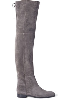 Sergio Rossi Woman Lace-up Suede Over-the-knee Boots Dark Gray
