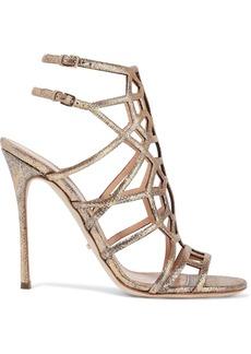 Sergio Rossi Woman Laser-cut Glittered Metallic Textured-leather Sandals Gold