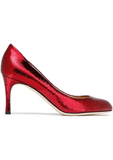 Sergio Rossi Woman Metallic Cracked-leather Pumps Crimson