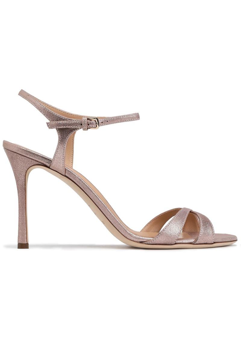 Sergio Rossi Woman Metallic Leather Sandals Rose Gold