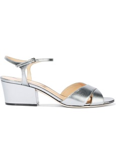 Sergio Rossi Woman Metallic Leather Sandals Grey Green