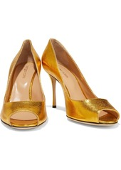 Sergio Rossi Woman Metallic Textured-leather Pumps Gold