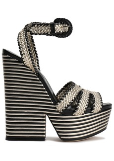 Sergio Rossi Woman Metallic Woven Leather Platform Sandals Platinum