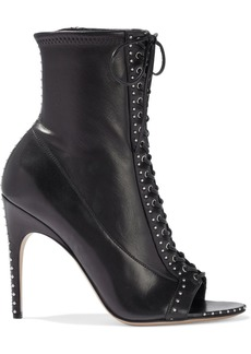 Sergio Rossi Woman Micro Stud 105 Lace-up Leather Ankle Boots Black
