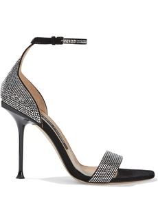 Sergio Rossi Woman Milano 105 Crystal-embellished Suede Sandals Black
