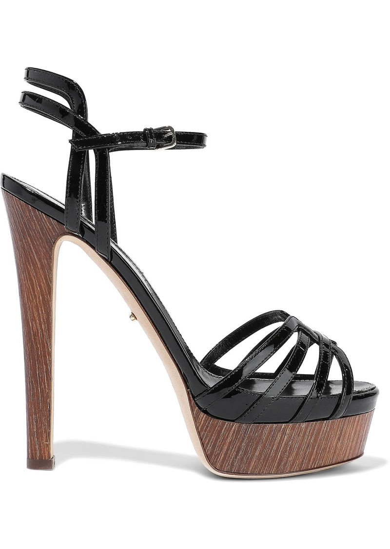 Sergio Rossi Woman Paloma Cutout Patent-leather Platform Sandals Black