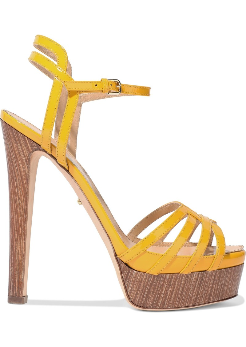 Sergio Rossi Woman Paloma Cutout Patent-leather Platform Sandals Marigold