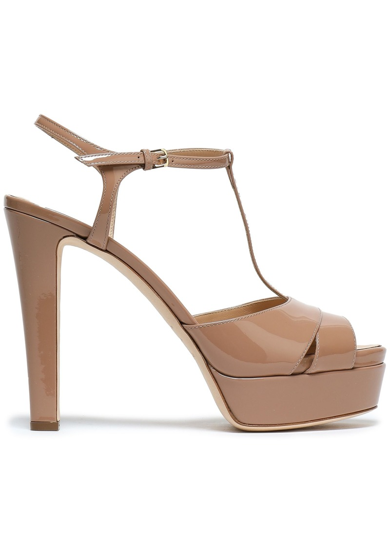 Sergio Rossi Woman Patent-leather Platform Sandals Neutral