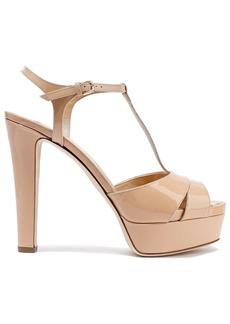 Sergio Rossi Woman Cutout Patent-leather Platform Sandals Sand