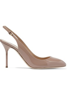 Sergio Rossi Woman Patent-leather Slingback Pumps Neutral