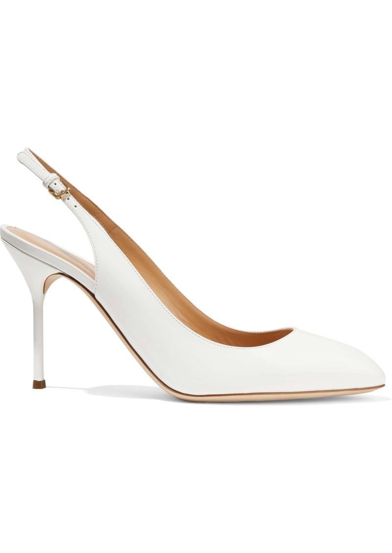 Sergio Rossi Woman Patent-leather Slingback Pumps White