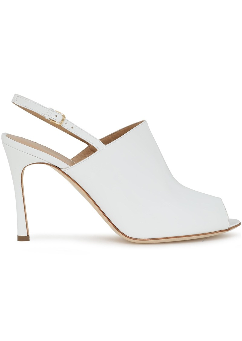 Sergio Rossi Woman Patent-leather Slingback Sandals White