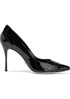 Sergio Rossi Woman Perforated Patent-leather Pumps Black