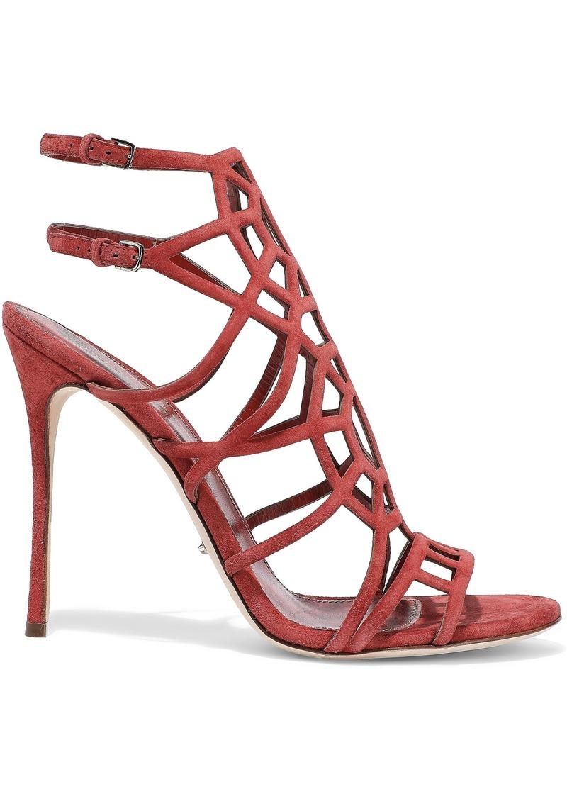 Sergio Rossi Woman Puzzle Basic Laser-cut Suede Sandals Crimson