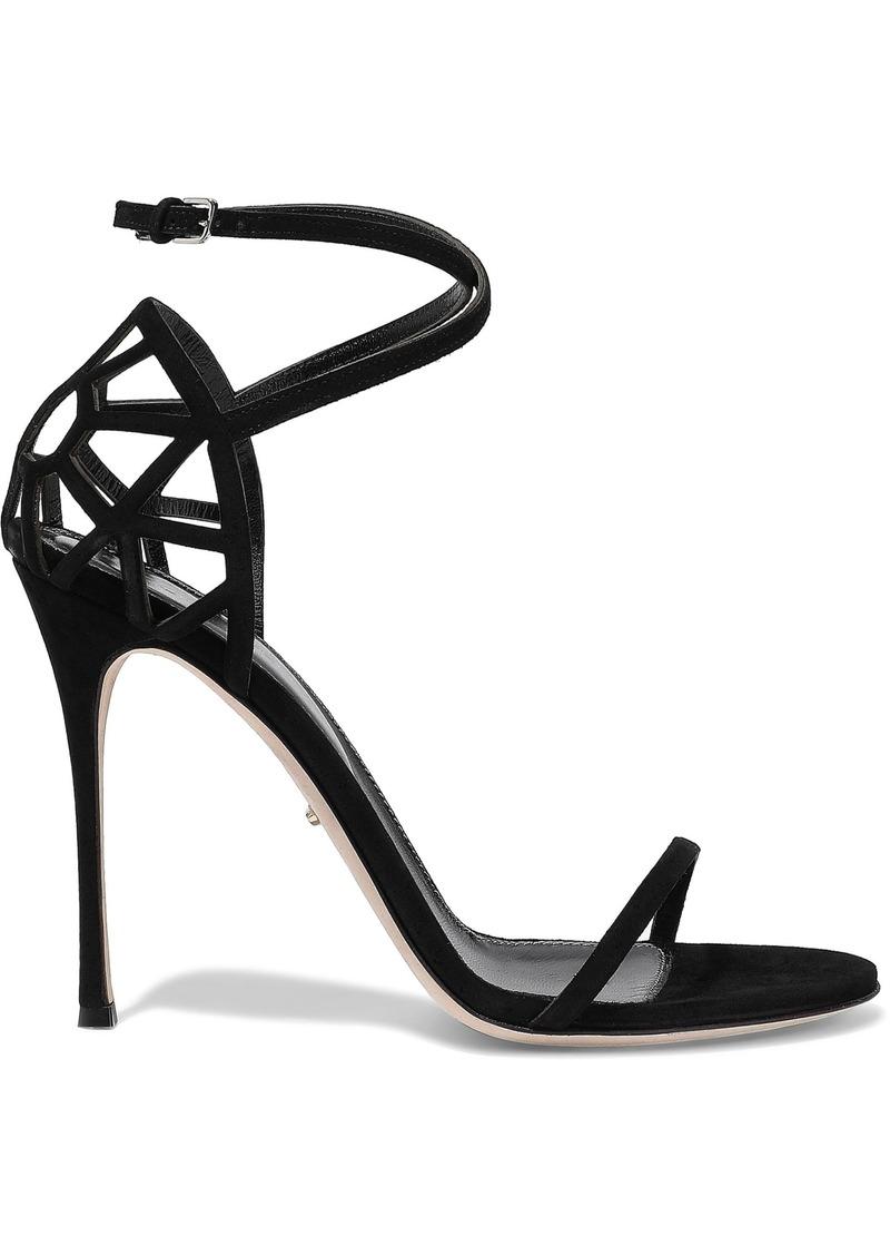 Sergio Rossi Woman Puzzle Laser-cut Suede Sandals Black