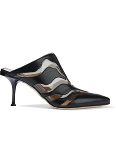 Sergio Rossi Woman Pvc-trimmed Leather Mules Black
