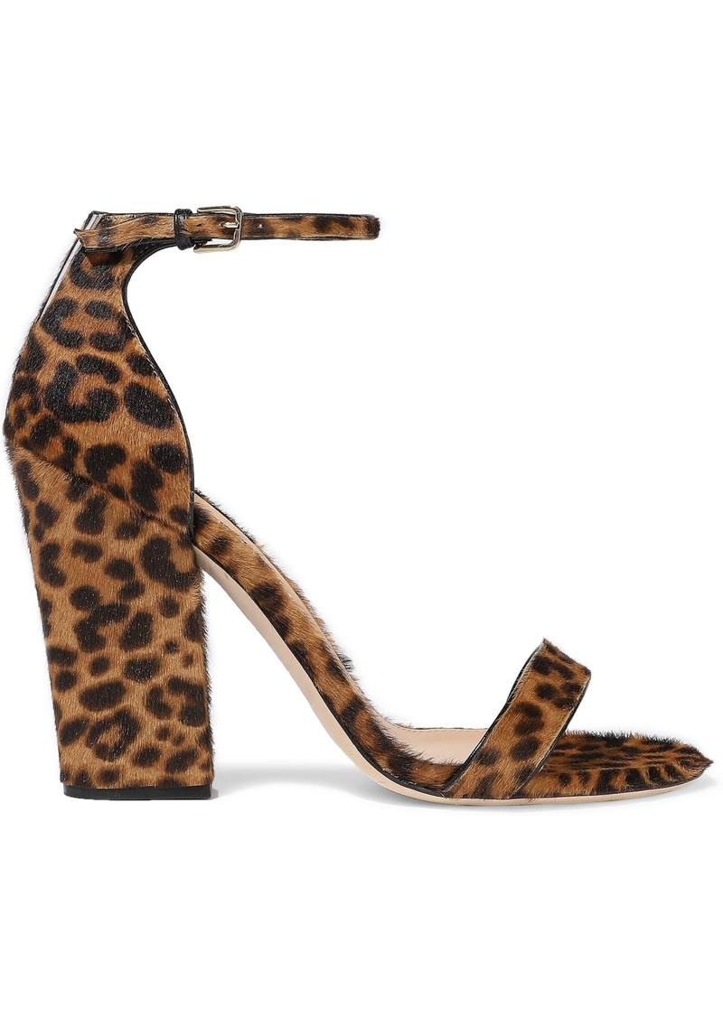 Sergio Rossi Woman Pvc-trimmed Leopard-print Calf Hair Sandals Animal Print