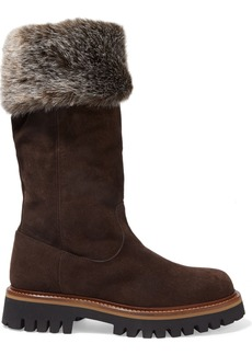 Sergio Rossi Woman Shearling-trimmed Suede Boots Brown