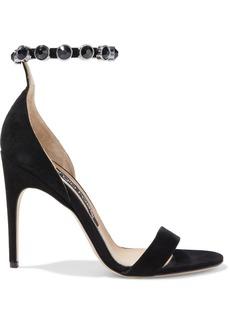 Sergio Rossi Woman Sr Crystal Moon Embellished Suede Sandals Black
