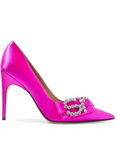 Sergio Rossi Woman Sr Icona Bow-embellished Satin Pumps Bright Pink