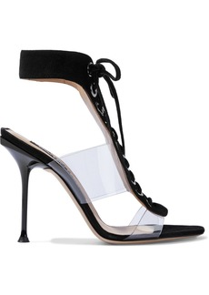 Sergio Rossi Woman Sr Milano 105 Lace-up Suede And Pvc Sandals Black