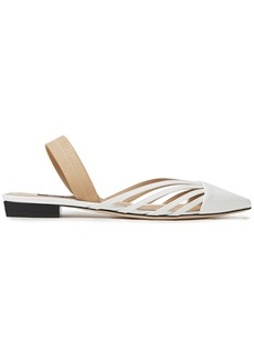 Sergio Rossi Woman Sr Milano Cutout Smooth And Patent-leather Slingback Point-toe Flats Off-white