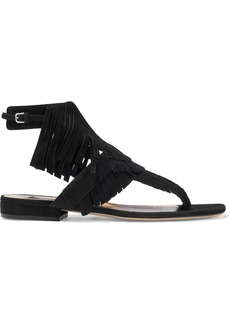 Sergio Rossi Woman Sr Milano Fringed Suede Sandals Black