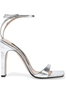 Sergio Rossi Woman Sr1 Metallic Crinkled-leather Sandals Silver