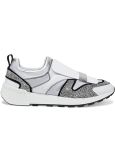 Sergio Rossi Woman Sr1 Running Crystal-embellished Suede Leather And Neoprene Slip-on Sneakers Silver