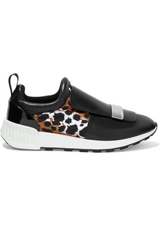 Sergio Rossi Woman Sr1 Running Printed Neoprene And Leather Slip-on Sneakers Black