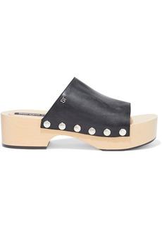 Sergio Rossi Woman Studded Leather Platform Sandals Black