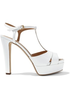 Sergio Rossi Woman T-bar Patent-leather Platform Sandals White