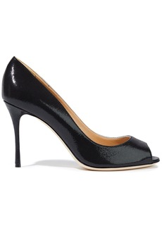 Sergio Rossi Woman Textured Patent-leather Pumps Black