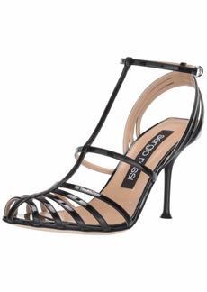 Sergio Rossi Women's Banded Heeled Sandal Patent Ruby Black/red/White 38.5 Medium EU (8.5 US)