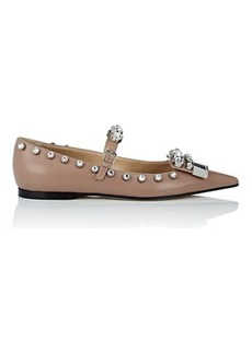 Sergio Rossi Women's Crystal-Embellished Leather Flats