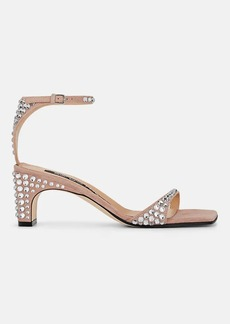Sergio Rossi Women's Crystal-Embellished Suede Ankle-Strap Sandals