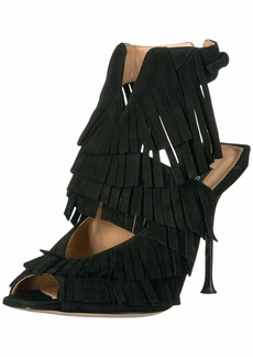 Sergio Rossi Women's Fringe Heeled Sandal  39 Medium EU (9 US)