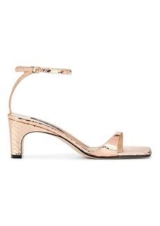 Sergio Rossi Women's Lizard-Stamped Metallic Leather Sandals