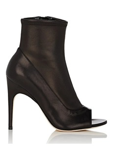 Sergio Rossi Women's Open-Toe Stretch-Leather Ankle Boots