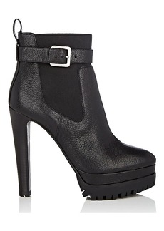 Sergio Rossi Women's Shearling-Lined Leather Platform Ankle Boots