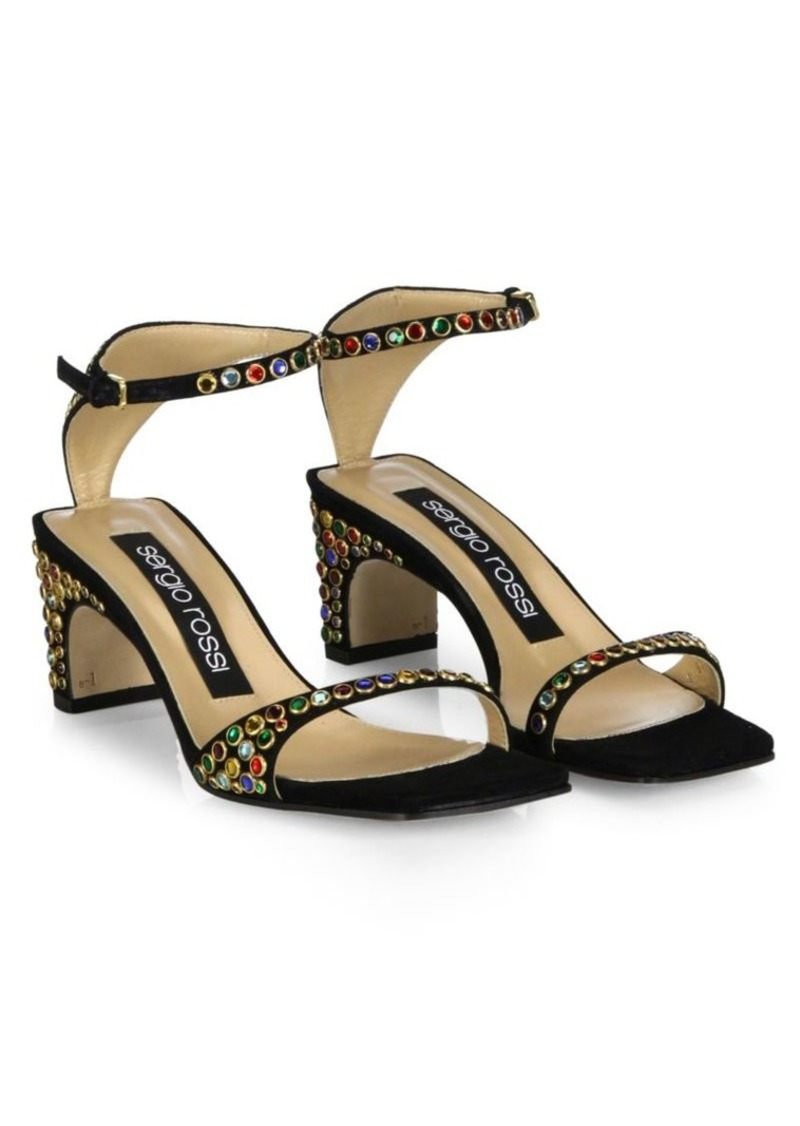 72907b1e8d2f Sergio Rossi SR1 Jeweled Suede Ankle-Strap Sandals