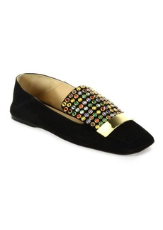 Sergio Rossi SR1 Jeweled Suede Slippers