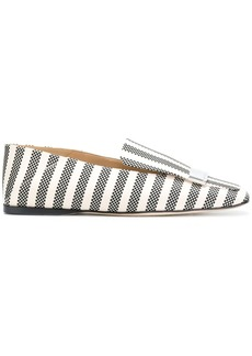 Sergio Rossi striped logo plaque slippers