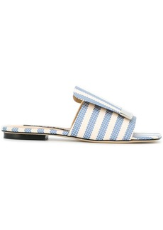 Sergio Rossi striped slider sandals
