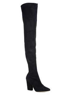 Sergio Rossi Virginia Stretch-Suede Over-The-Knee Block-Heel Boots