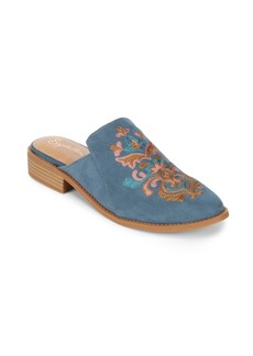Seychelles Surprised Embroidered Suede Mules