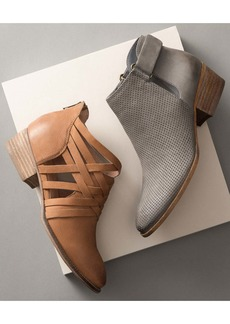 Seychelles So Blue Leather Woven Cutout Bootie