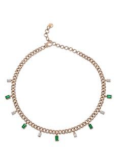 Women's Shay Diamond & Emerald Baguette Link Choker Necklace