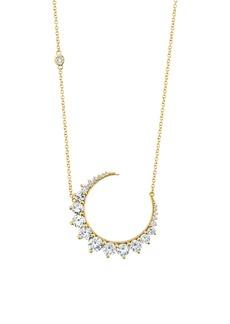 Women's Shay Large Diamond Crescent Moon Pendant Necklace
